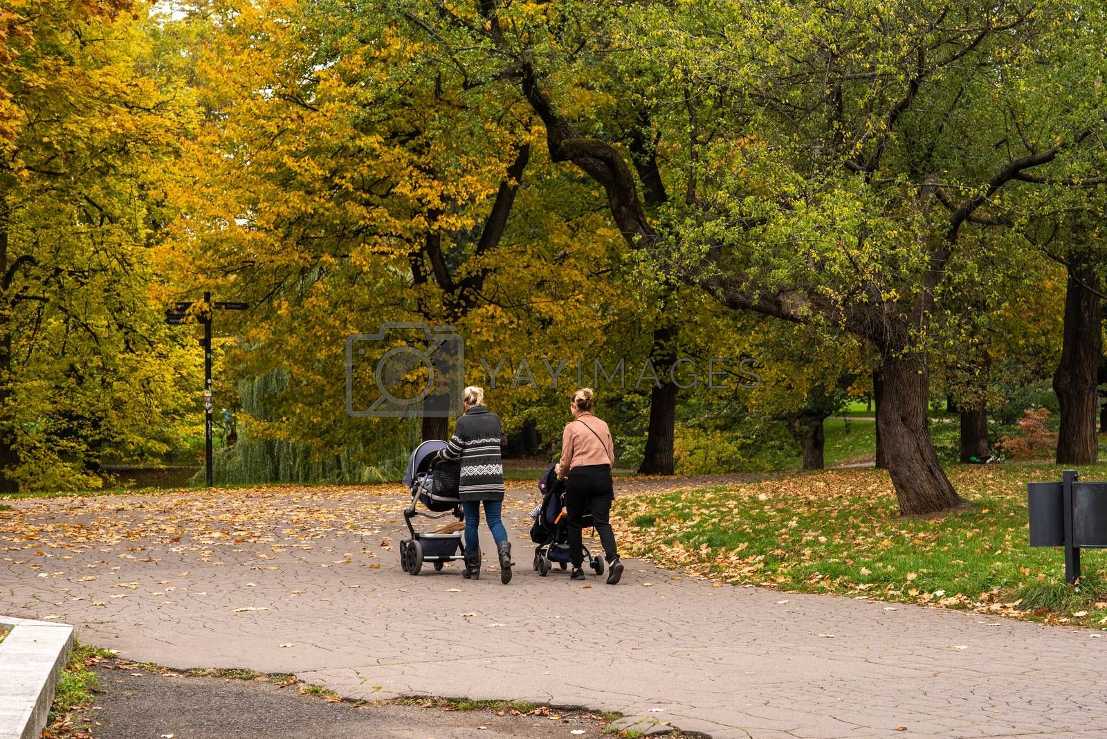 Two mother are walking and talking while taking their kids for a walk in the baby stroll on Letna Park in Autumn 2020 on Prague 6 during quarantine period due to outbreak of COVID-19 as winter is starting, Czech Republic. Editorial.