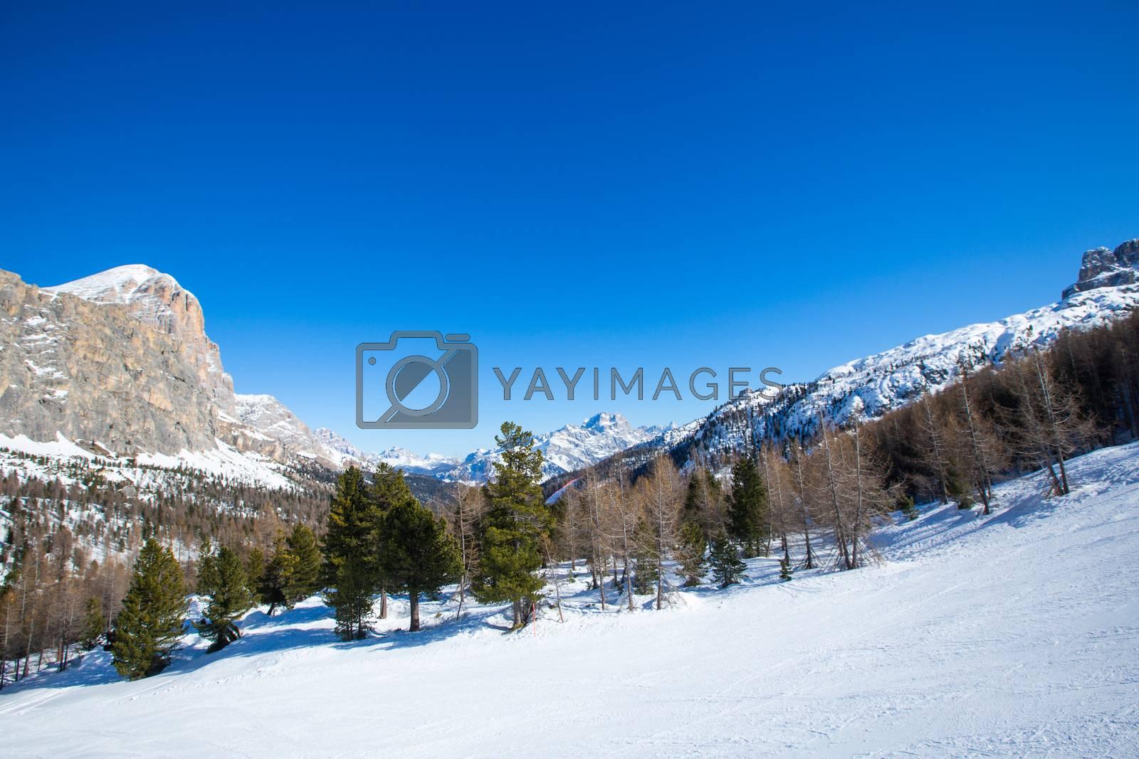 Royalty free image of Dolomites winter mountains ski resort by destillat