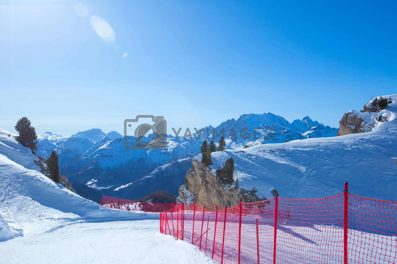 Dolomites Dolomiti Italy in wintertime beautiful alps winter mountains and ski slope Cortina d'Ampezzo Col Gallina mountain peaks famous landscape skiing resort area
