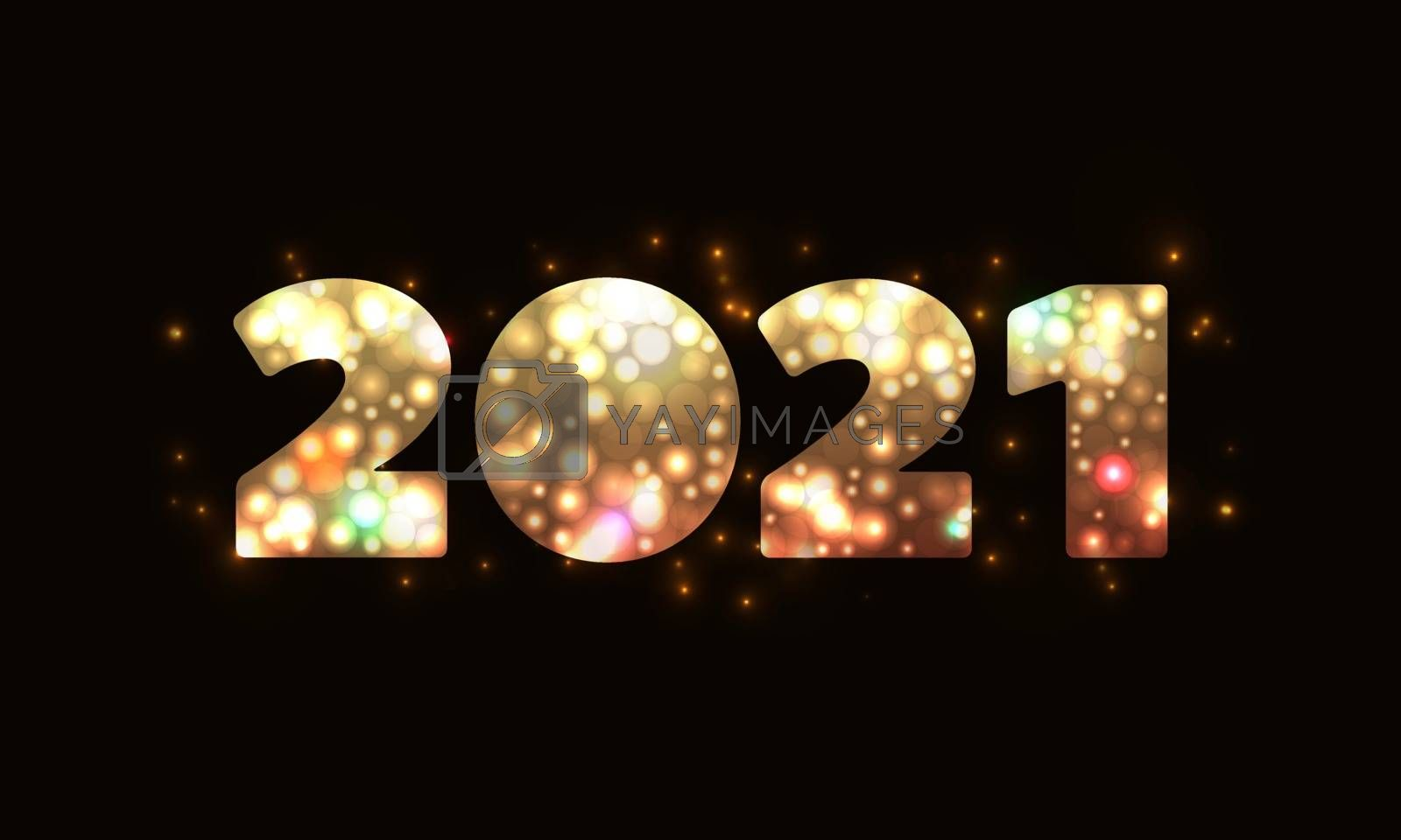 2021 Happy New Year banner. Creative vector typography digits gold on a black background. Template for Christmas flyer, greeting card, brochure.