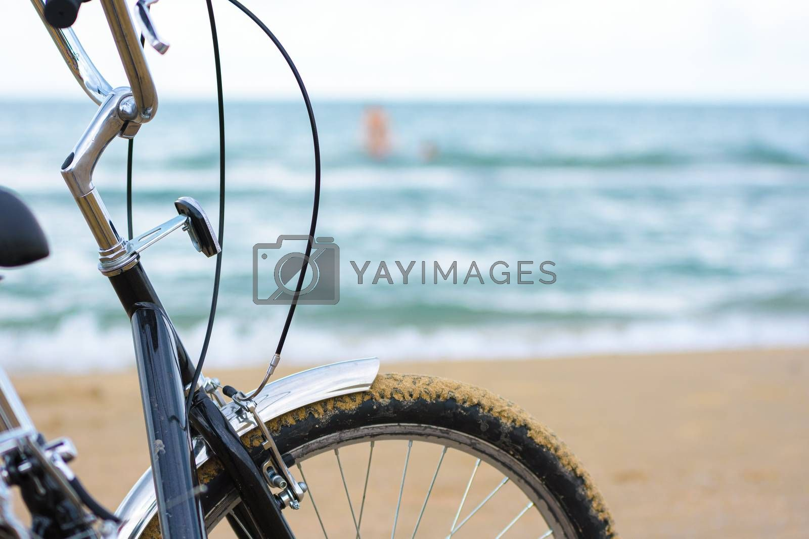 Fragment of a bicycle close-up on the background of the sea
