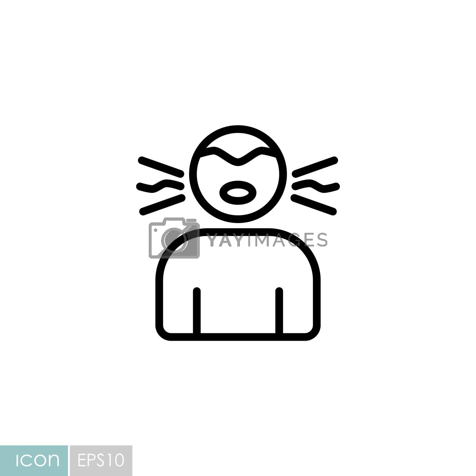 Novel Coronavirus symptoms dry cough vector icon. Medical sign. Graph symbol for medical web site and apps design, logo, app, UI