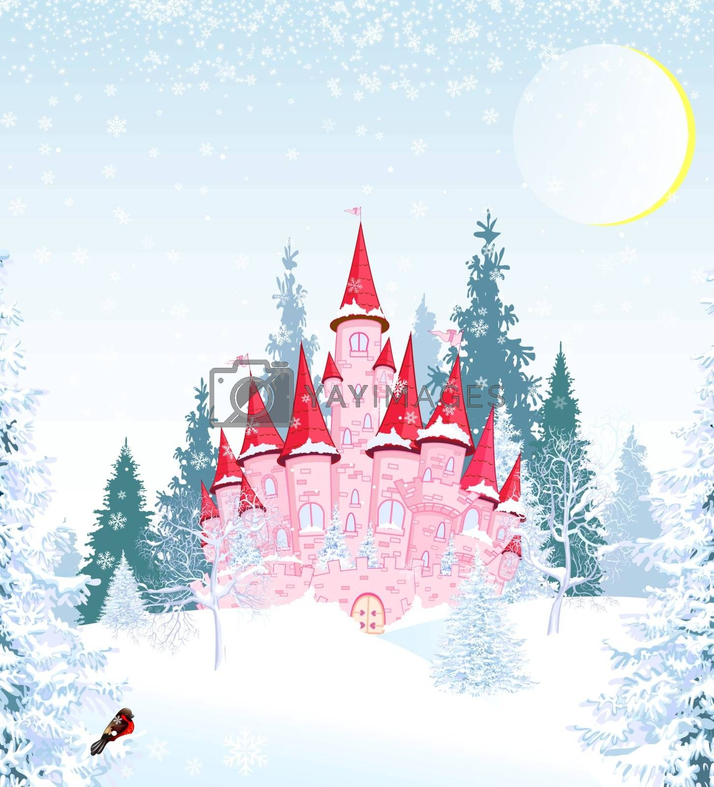 Princess castle in winter forest by liolle