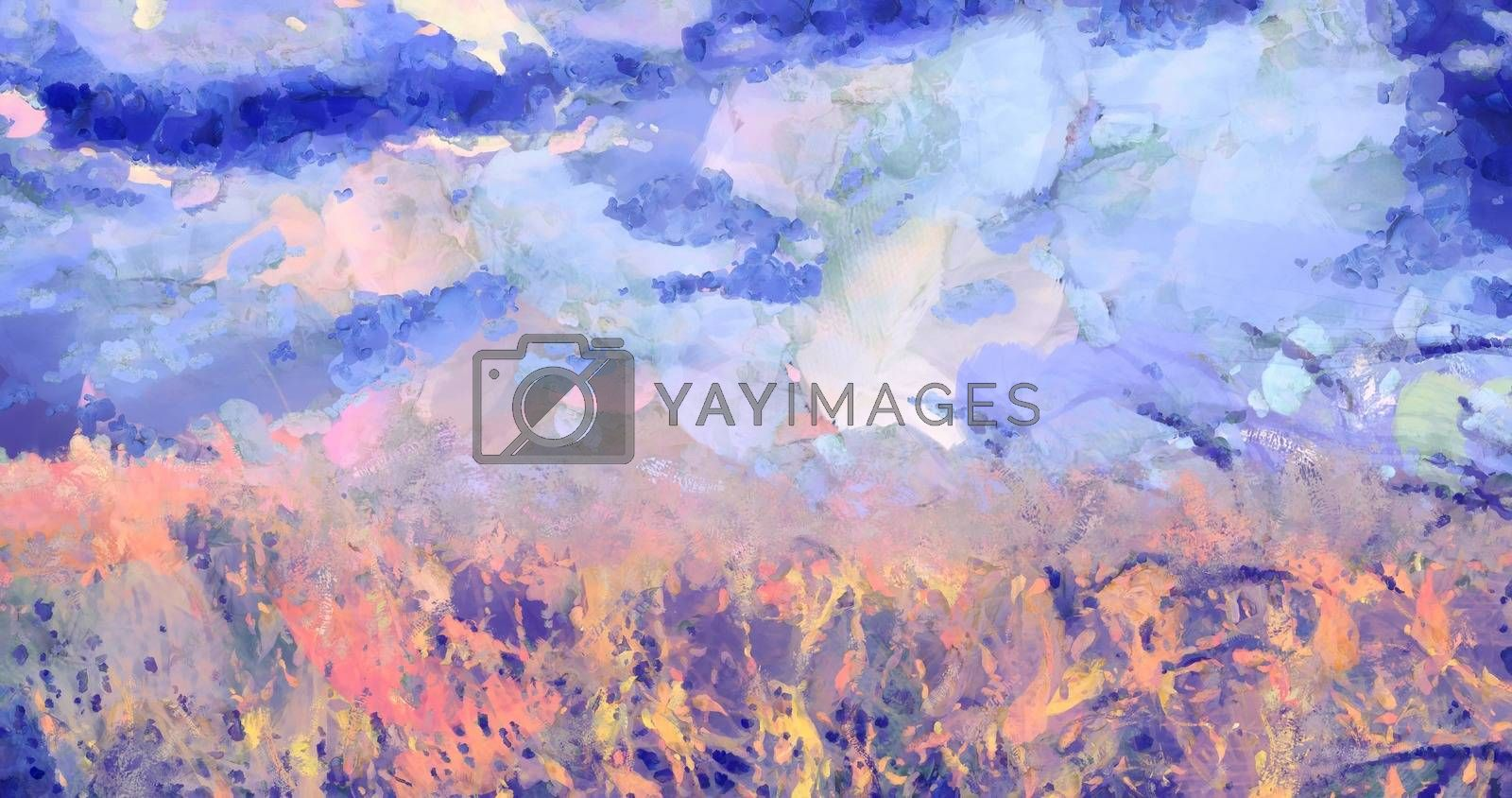 Abstract paintied landscape. 3D rendering