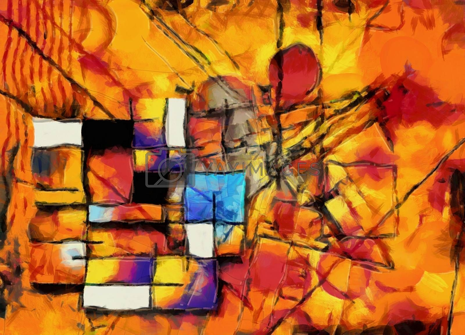 Painterly Colorful Abstract. 3D rendering