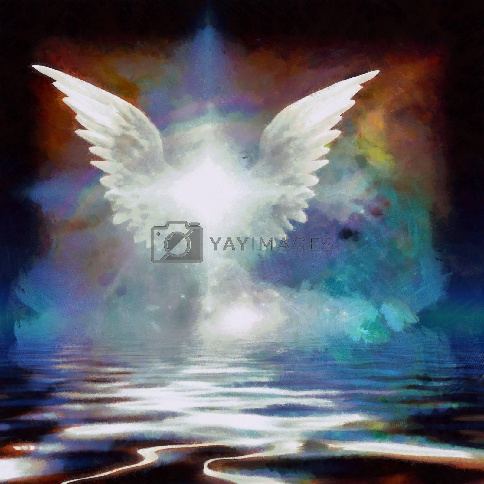 Wings over water Drawing. 3D rendering