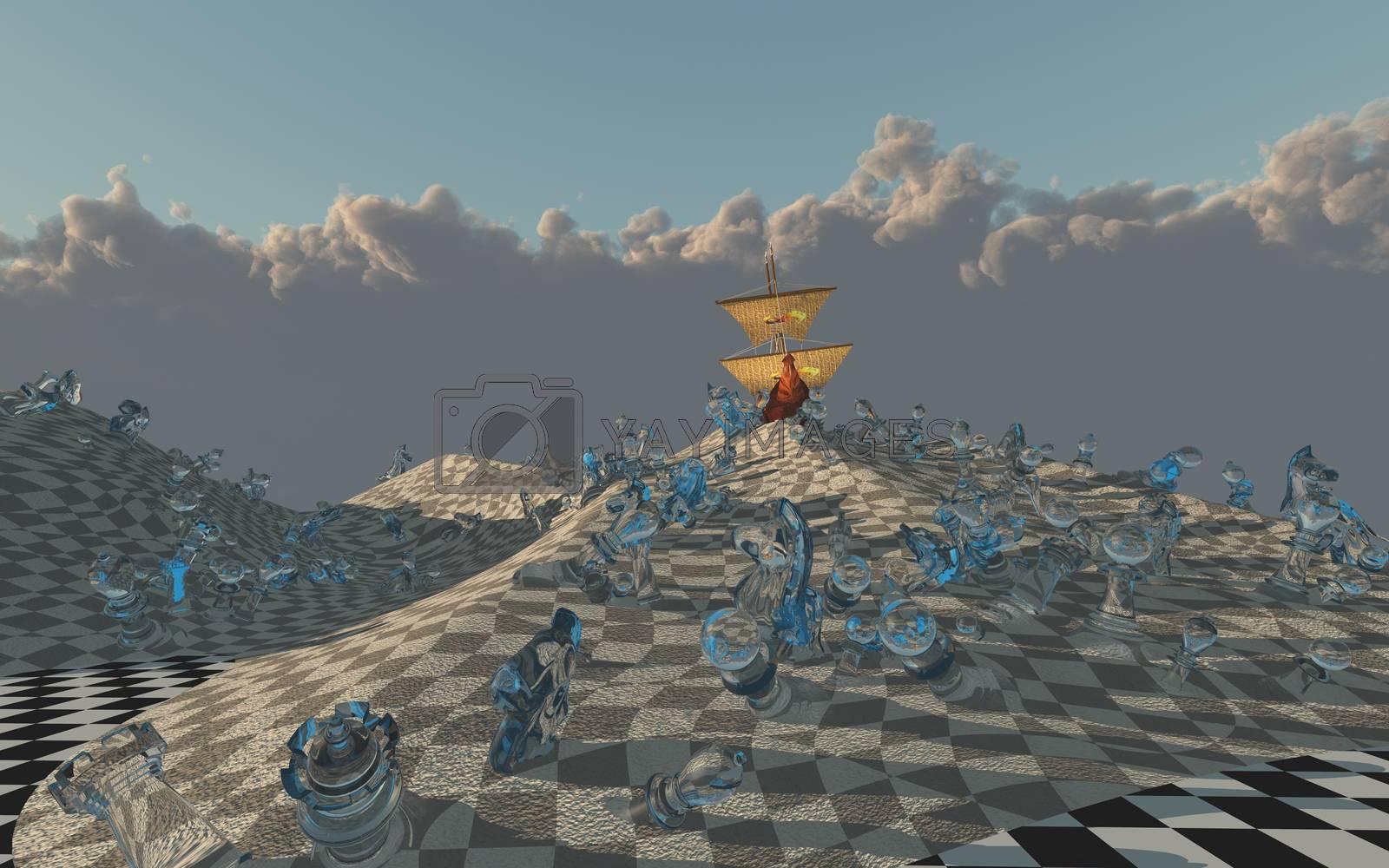 Sailing ship creast on chessboard desert dune. 3D rendering
