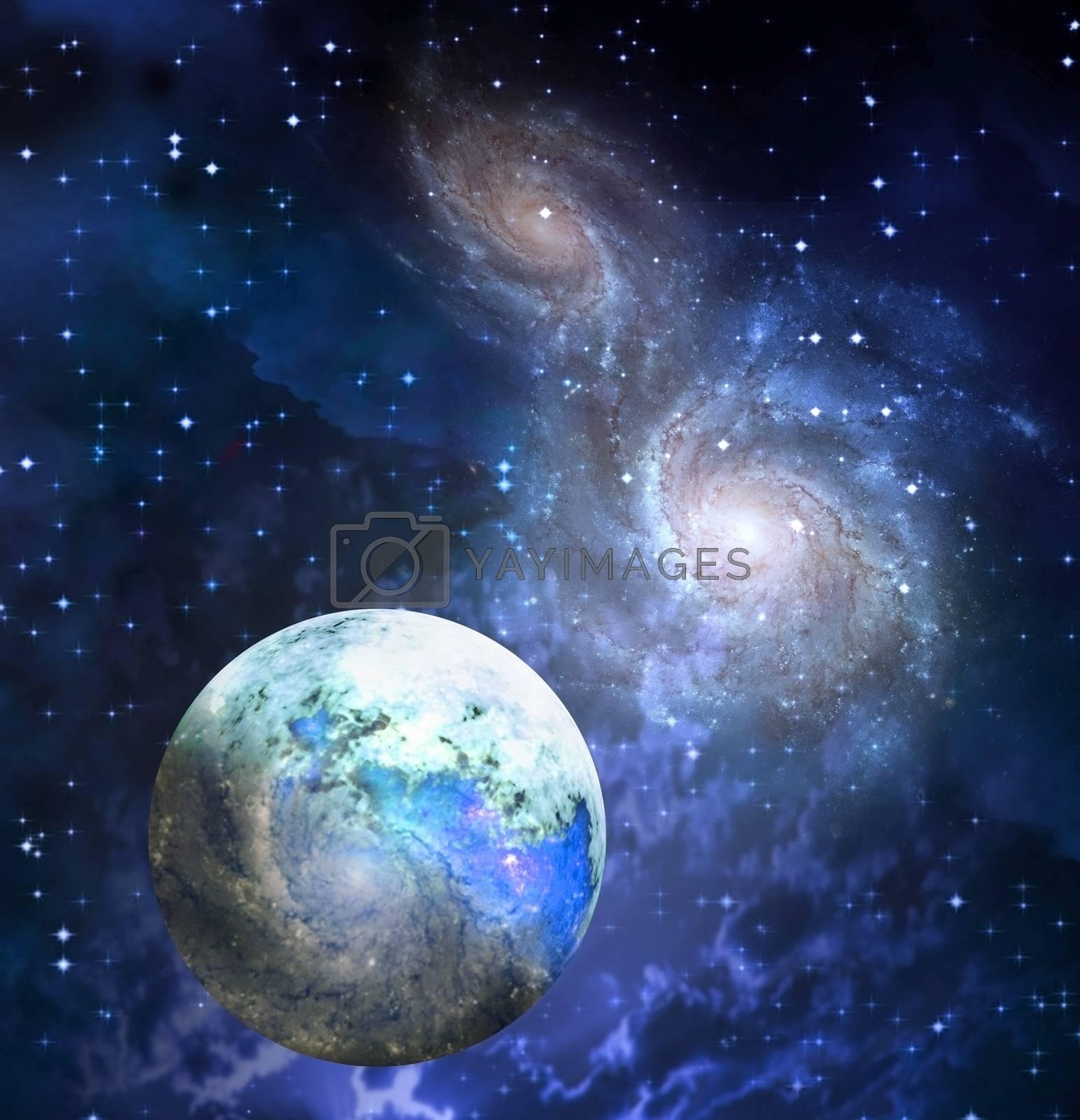 Exoplanet in space. 3D rendering