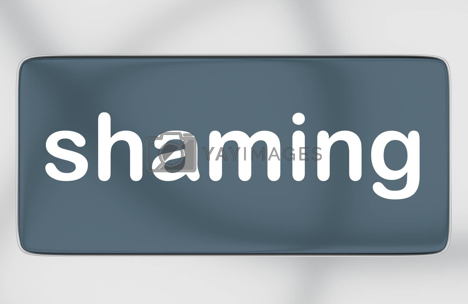 3D illustration of shaming title on cellular screen, isolated over gray pattern.