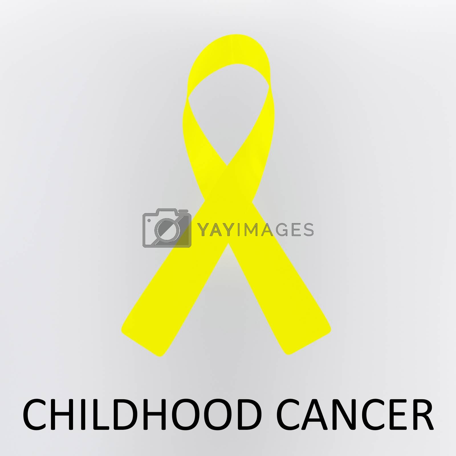 3D illustration CHILDHOOD CANCER script below an awareness ribbon of malnutrition, isolated over gray background.