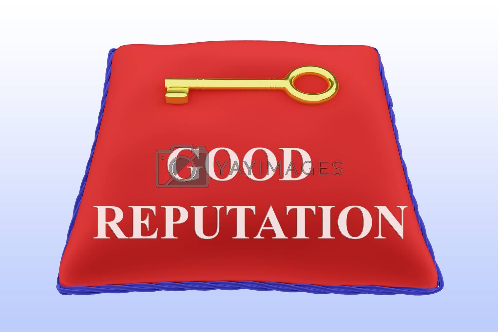 Render illustration of GOOD REPUTATION Title on red velvet pillow vear a golden key, isolated over blue gradient.