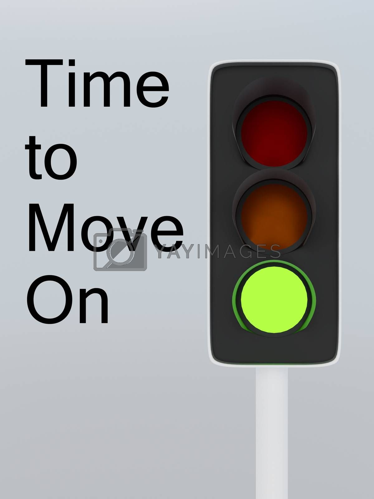 3D illustration of green traffic light along with encouraging text Time to Move On, isolated over gray gradient.