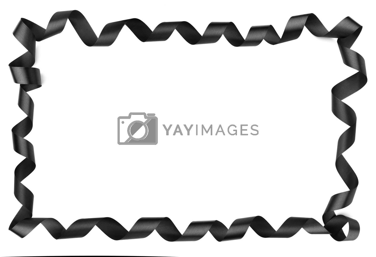 Black ribbon border frame corner design isolated on white background, Black friday gift sale design concept