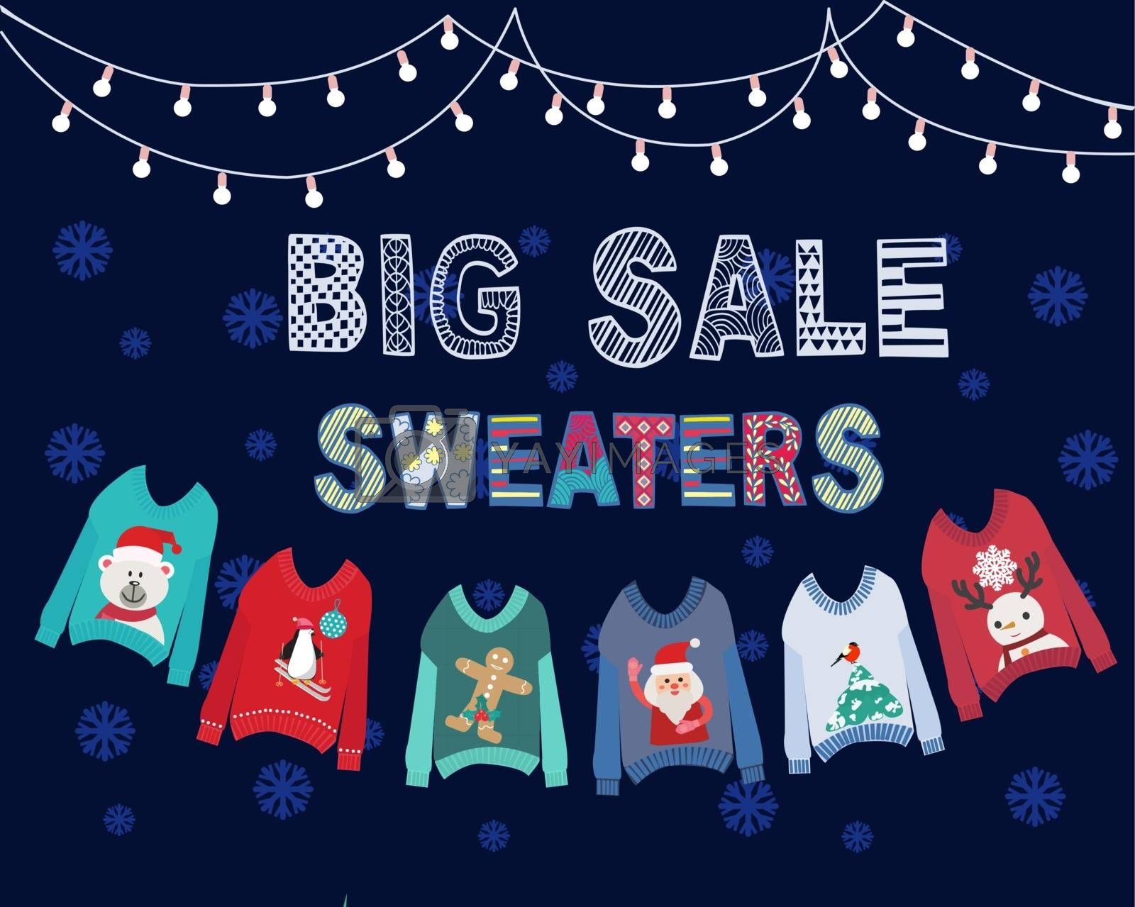 Vector hand drawn background with hanging ugly Christmas sweaters  and string lights. Big winter sale banner for shop, online store, supermarket, fair, boutique.