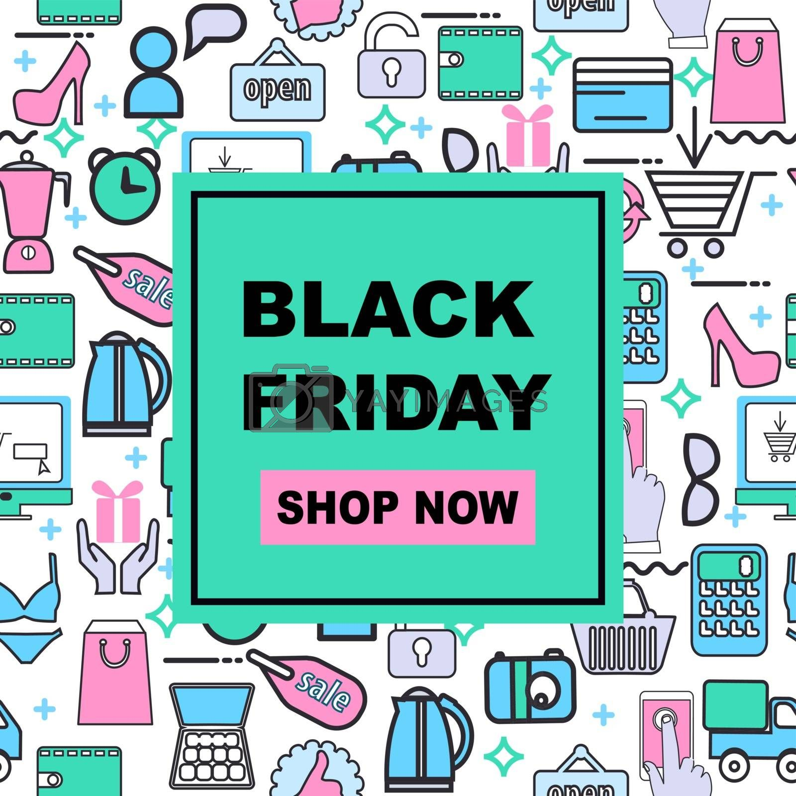 Vector illustration black friday sale banner background with shopping icons. Black Friday template for social media posts, banner, card design, etc.