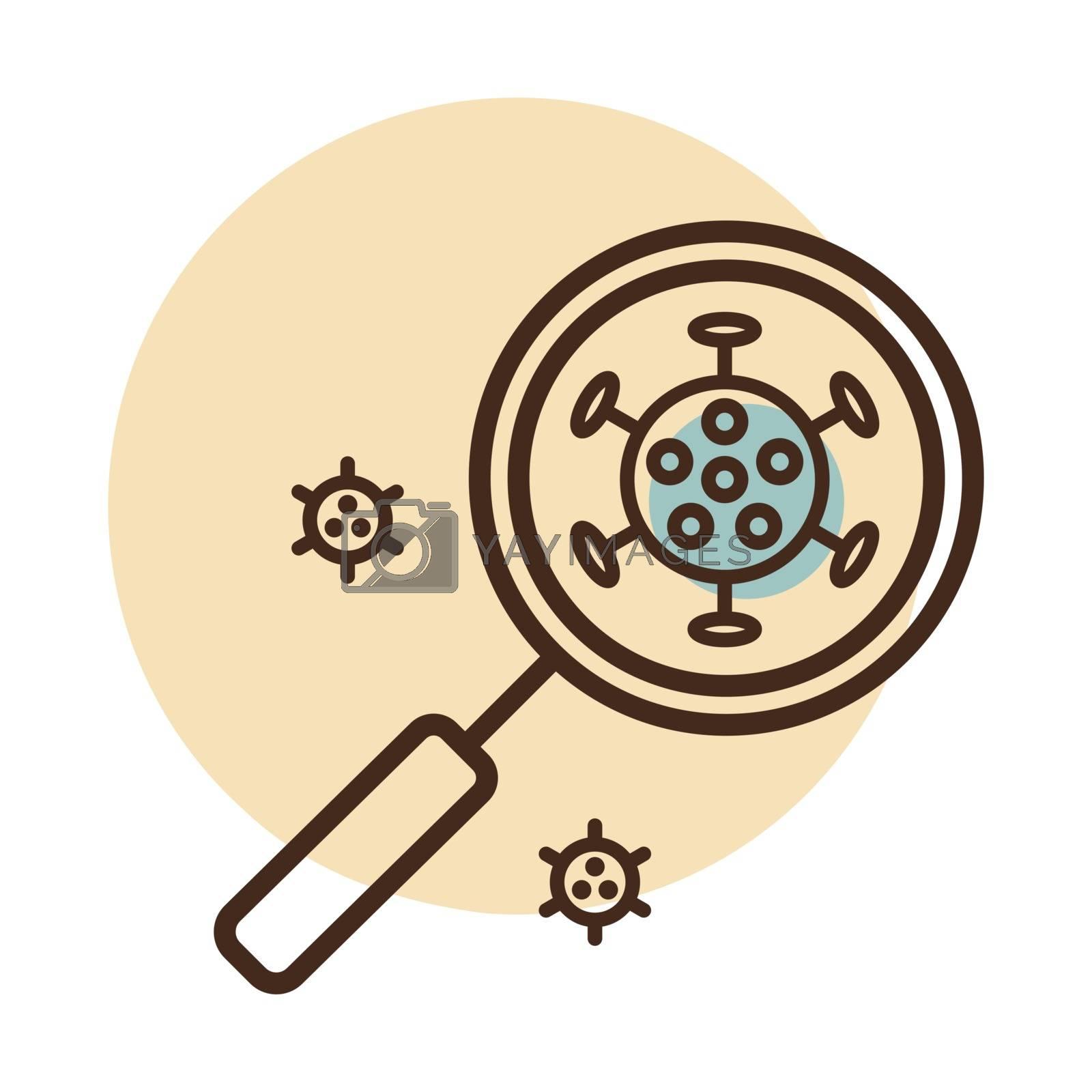 Coronavirus under magnifying glass vector icon. Novel coronavirus. Graph symbol for medical web site and apps design, logo, app, UI