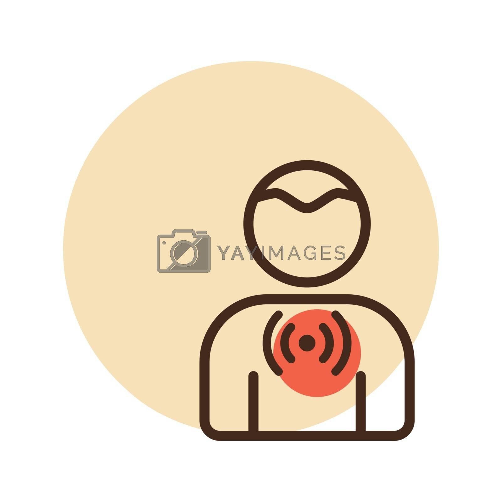 Novel Coronavirus symptoms sore throat vector icon. Medical sign. Graph symbol for medical web site and apps design, logo, app, UI