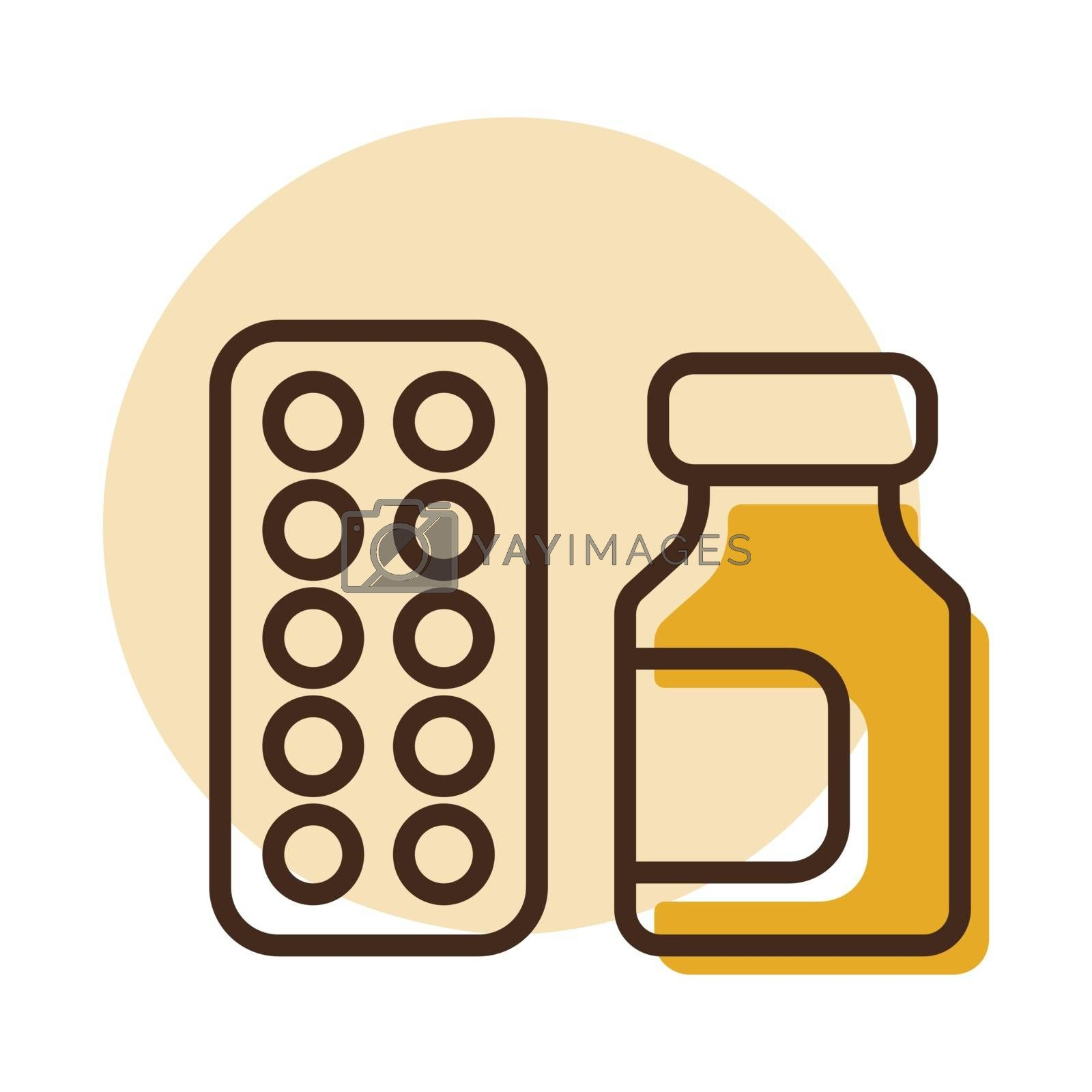 Medicine jar and pills strip vector icon. Medical sign. Coronavirus. Graph symbol for medical web site and apps design, logo, app, UI