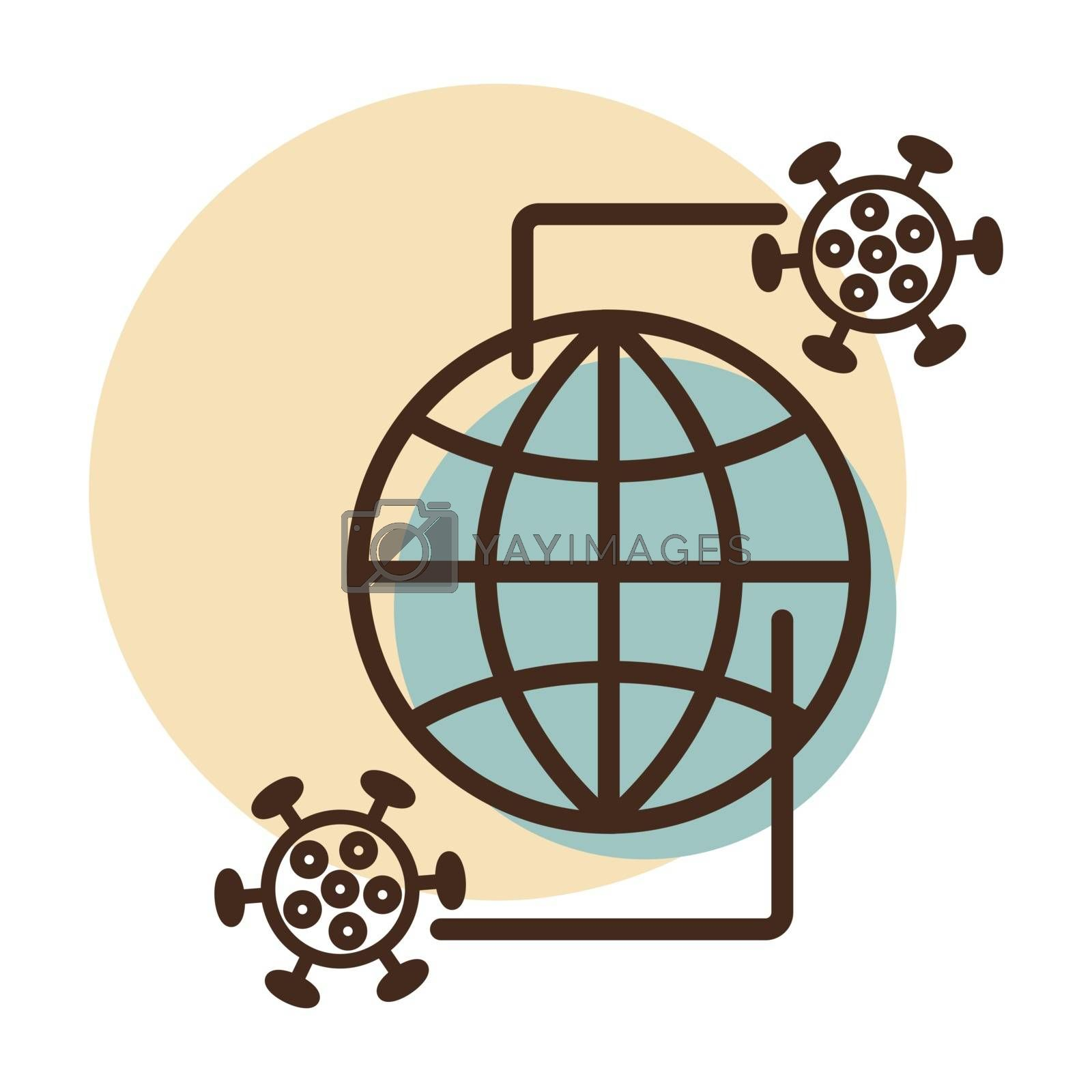 Planet Earth globe with icon of coronavirus 2019-nCov. The spread of a virus outbreak in the world. COVID 19 outbreak and world pandemic risk concept.