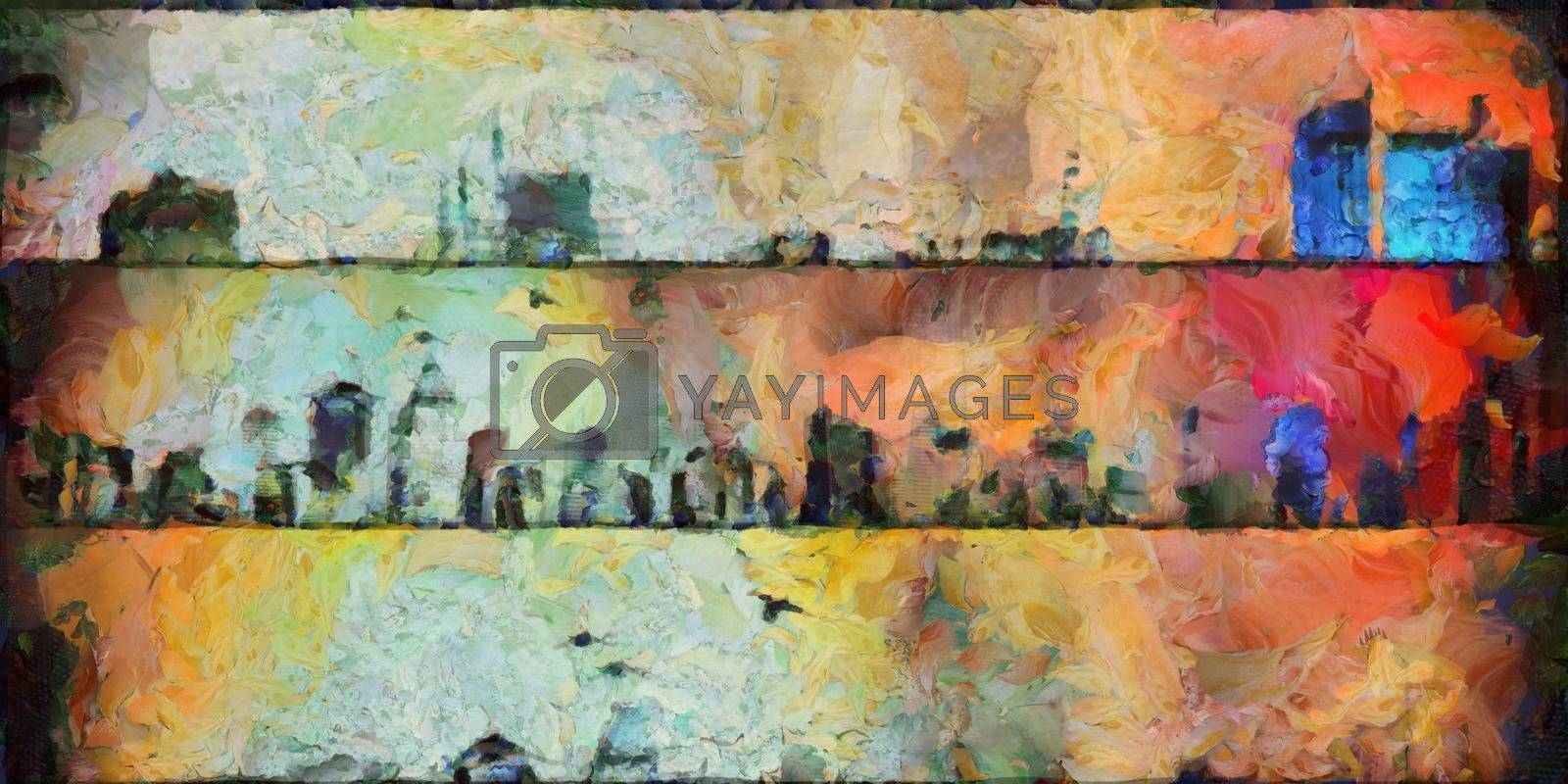 Abstract painting of New York Panorama. 3D rendering