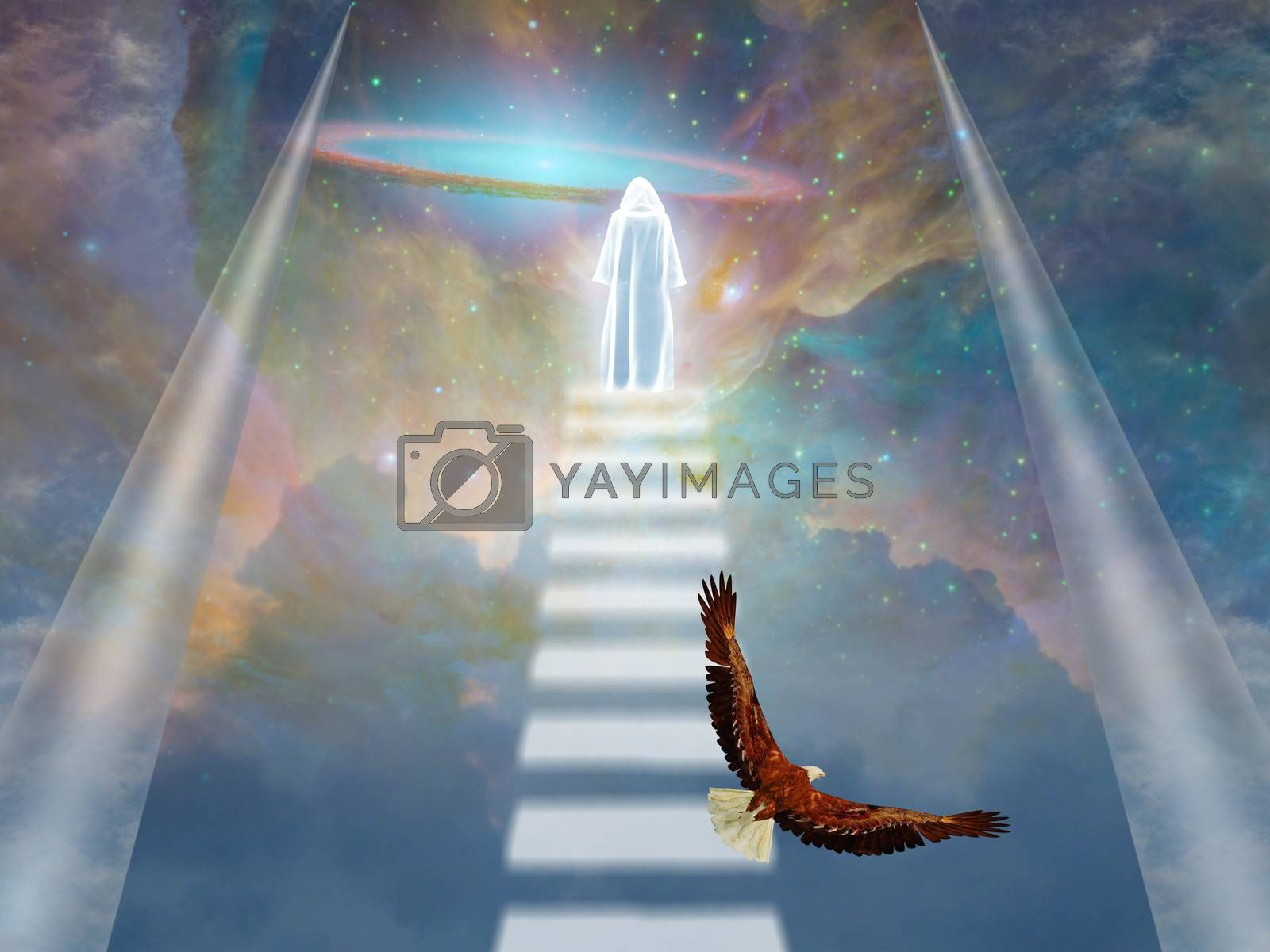 A cloaked figure in heavens. 3D rendering