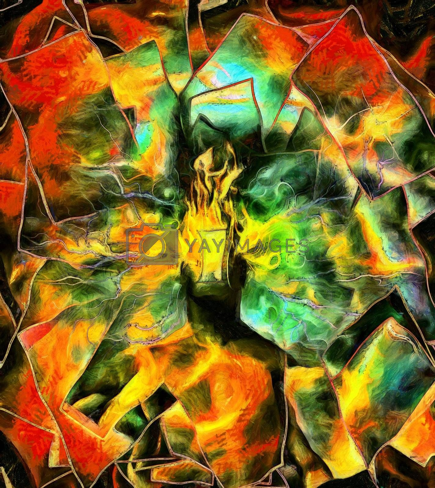 Surreal painting. Man with burning head and door instead of face. 3D rendering