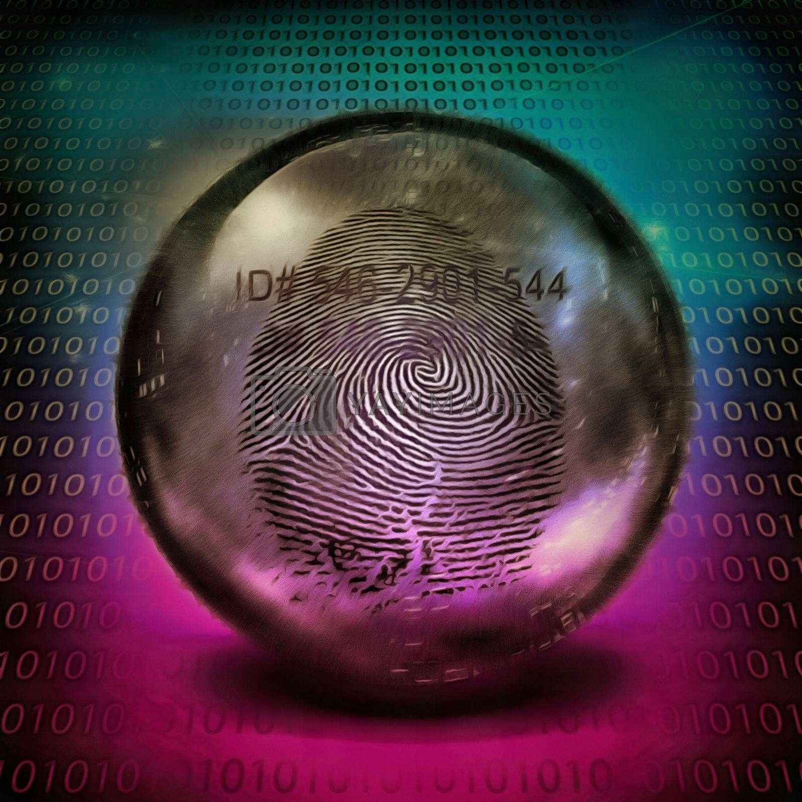 Surrealism. Finger print in crystal ball, binary code on background. 3D rendering