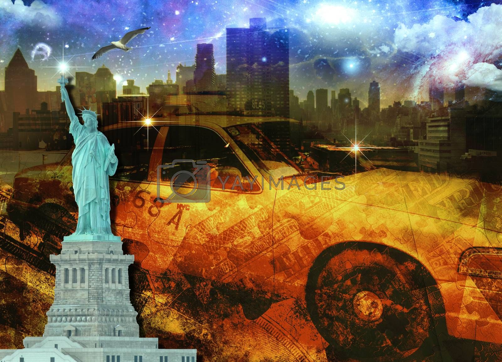NYC Composition. Yellow cab, Statue of Liberty and Manhattan Skyline. 3D rendering