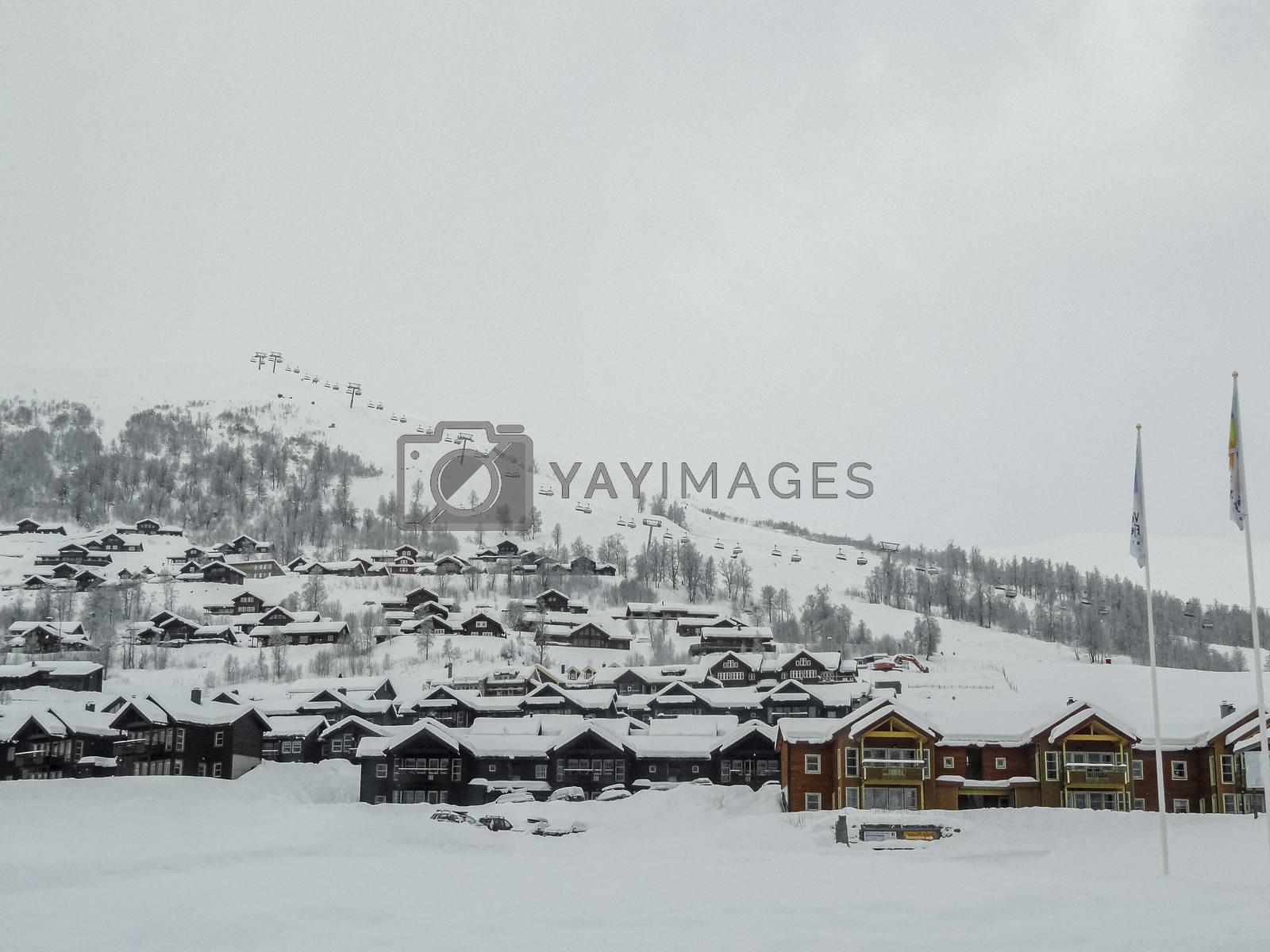 Winter ski resort in Vestland in Norway. Ski sports, hikers.
