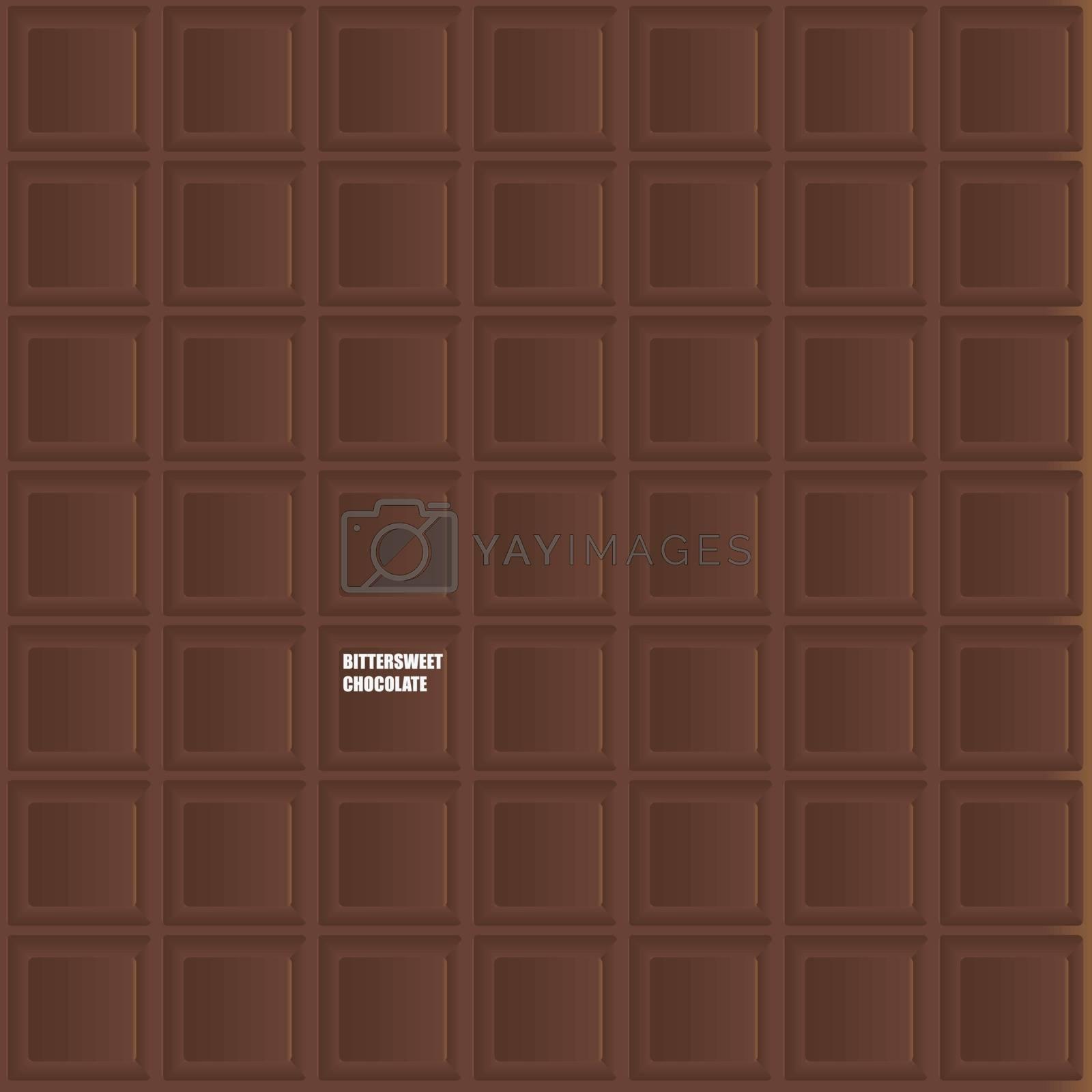 Dark chocolate bar as background. Vector illustration.