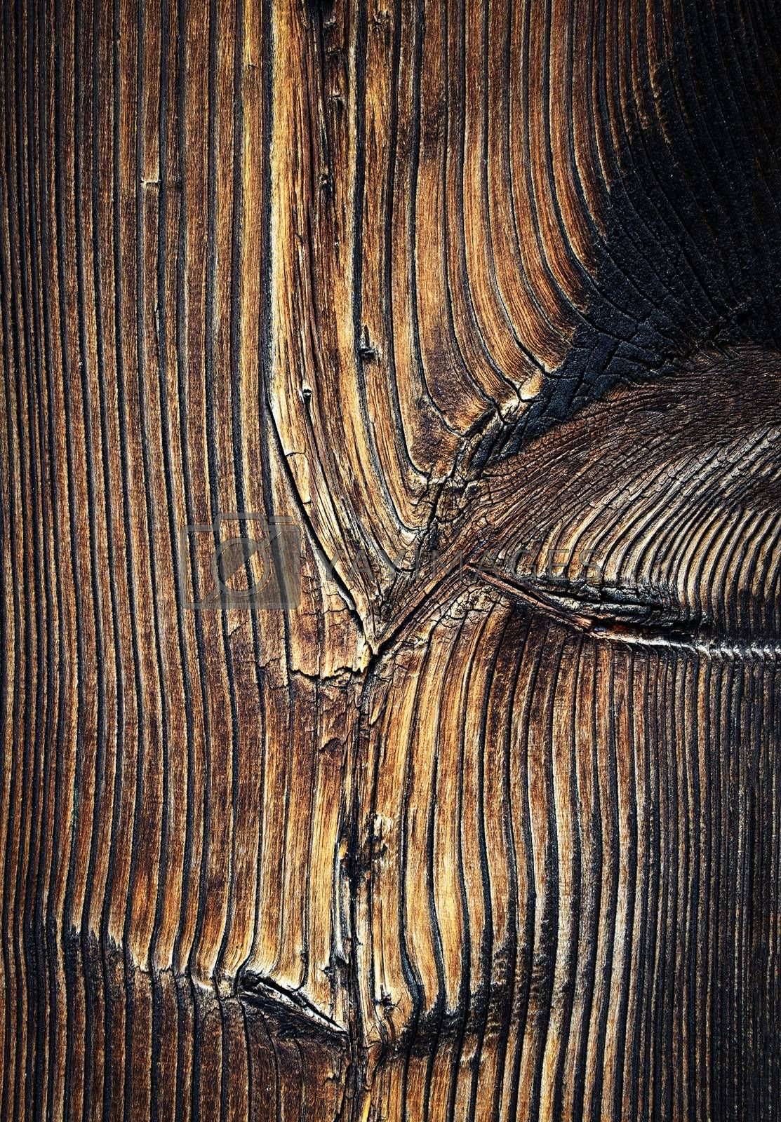 background or texture detail of an old brown wooden board