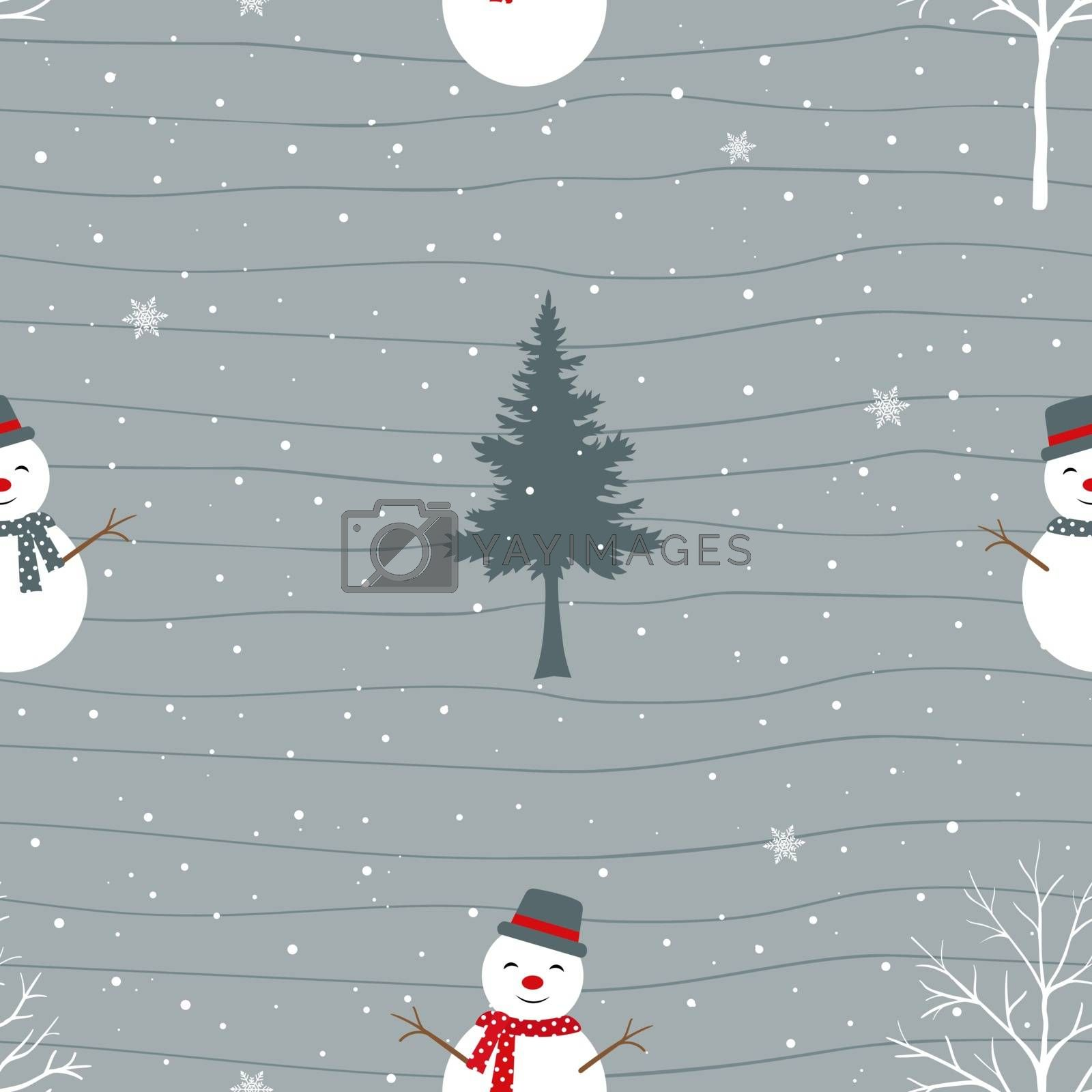 Cute snowman happy on winter seamless pattern,for decorative,fabric,textile,print or wrapping paper by PIMPAKA