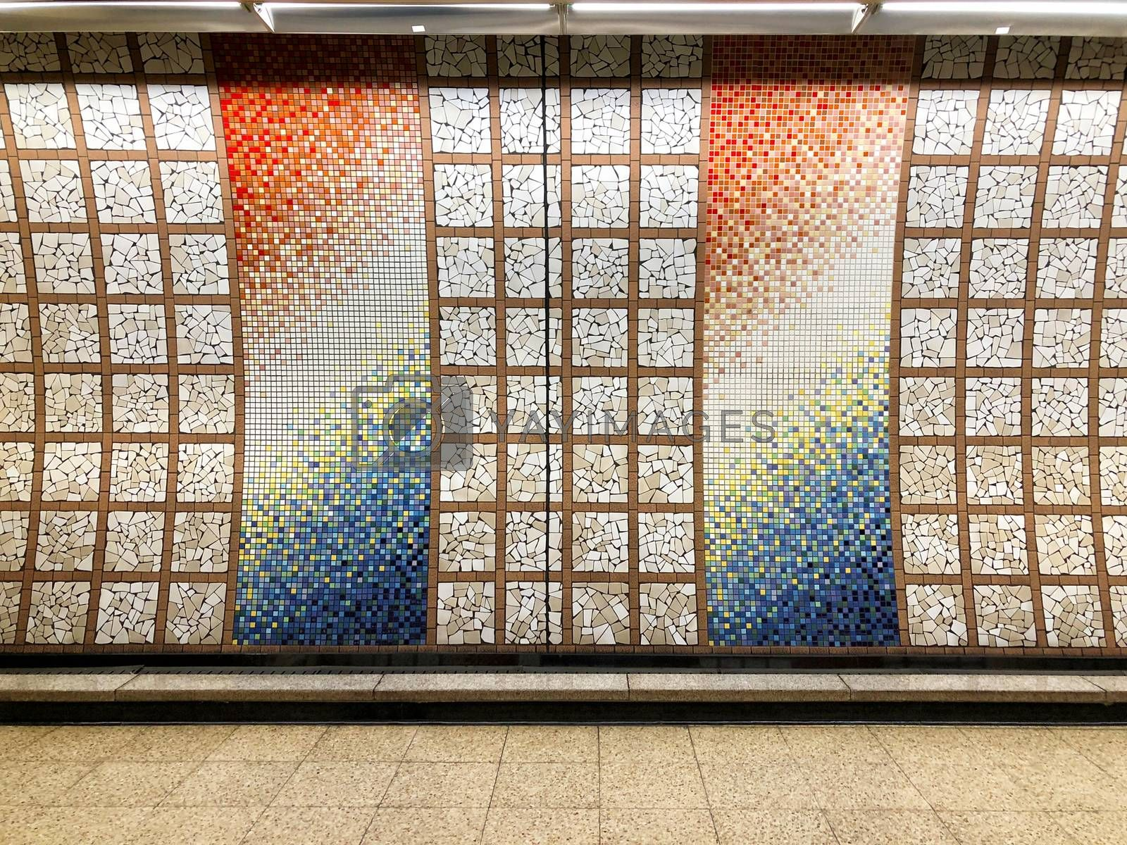 Tile wall in the subway at Seoul Korea