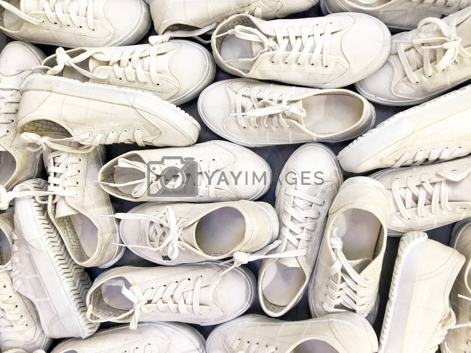 White shoe background and close up