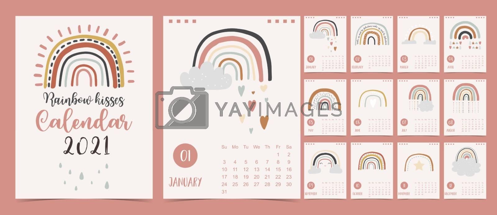 Cute pastel calendar 2021 with rainbow,rain,cloud for children, kid, baby