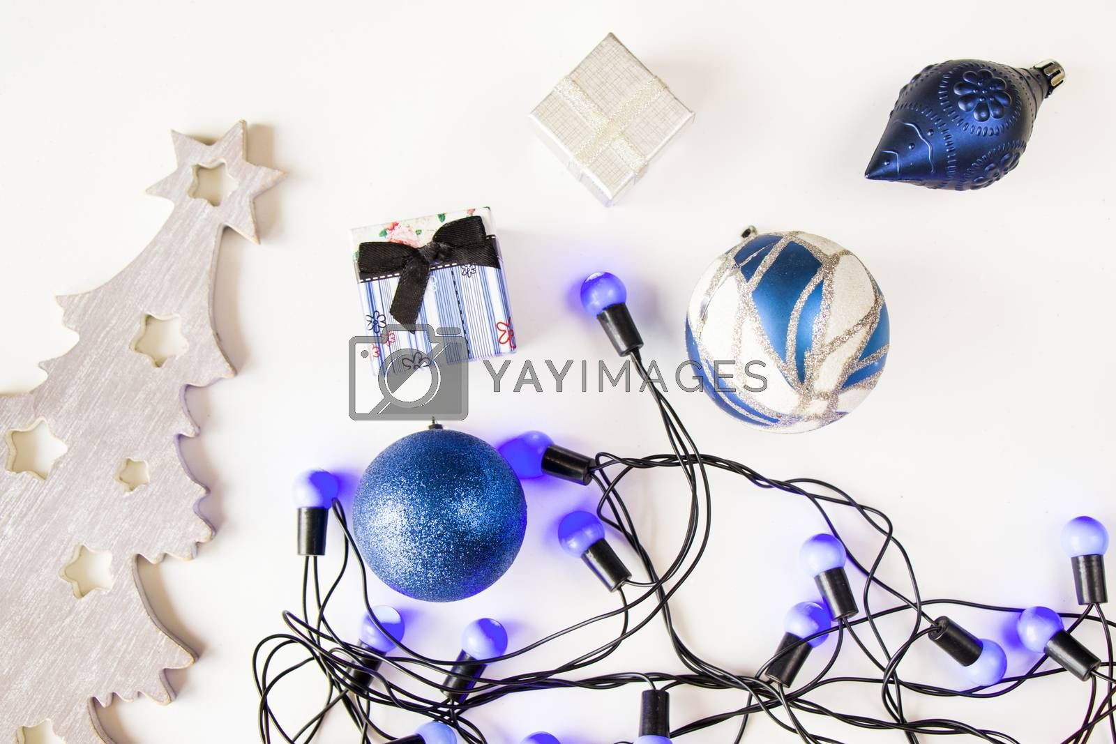 Merry christmas and happy new year 2021 blue set background, tree, toy, gift box and garland on the white background