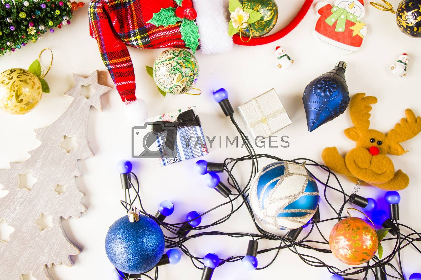 Merry christmas and happy new year 2021 set background, tree, toy, gift box and garland on the white background