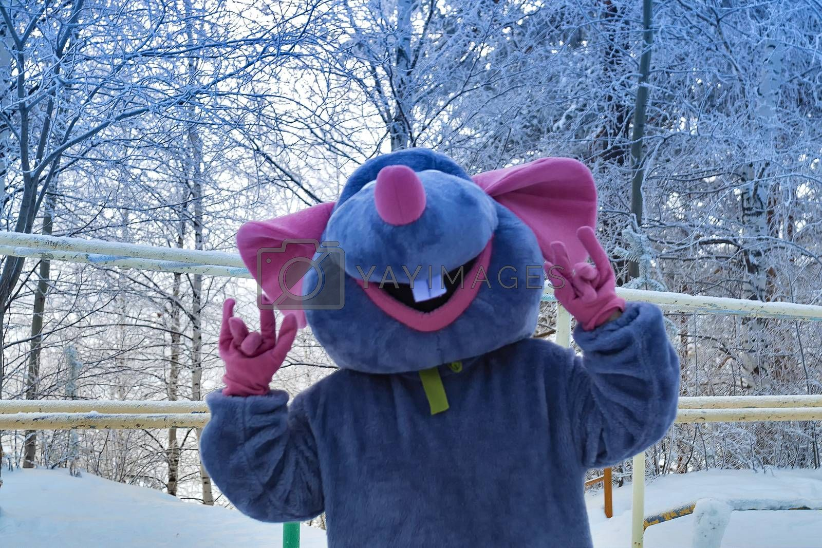 Animator in mouse costume. Symbol 2020. Siberian forest.