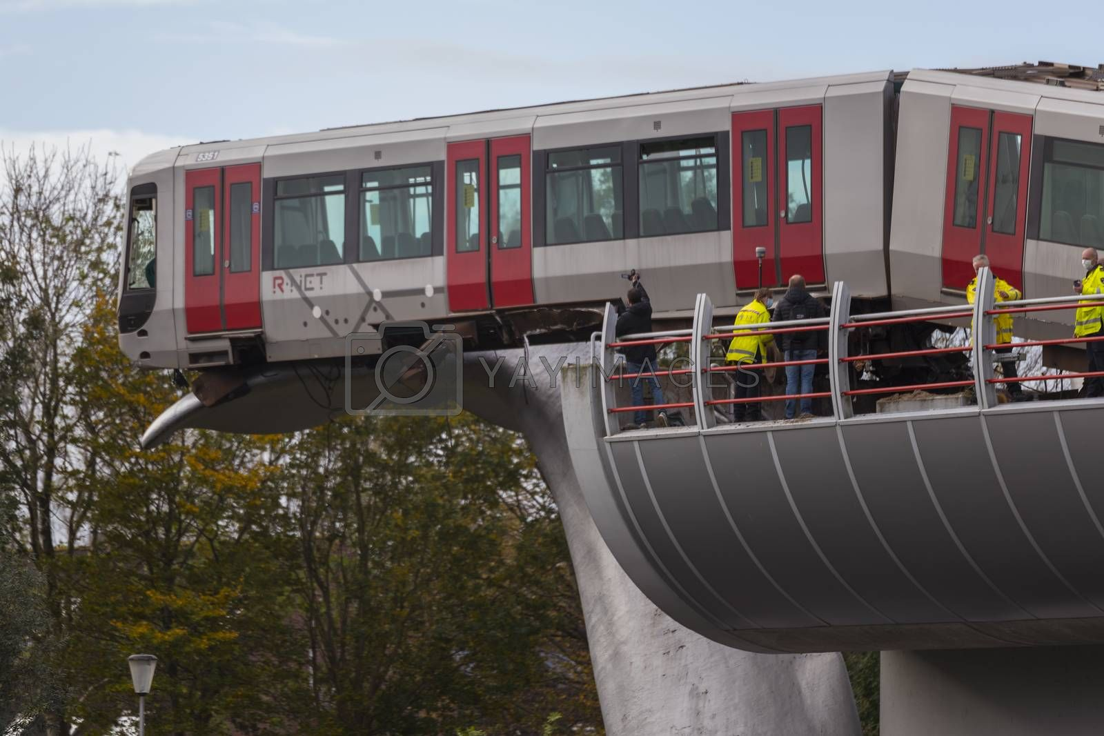 Spijkenisse,Holland,02-nov-2020:a metro has been shot through the buffer at the station de akkers in Spijkenisse in the Netherlands, no injuries were reported
