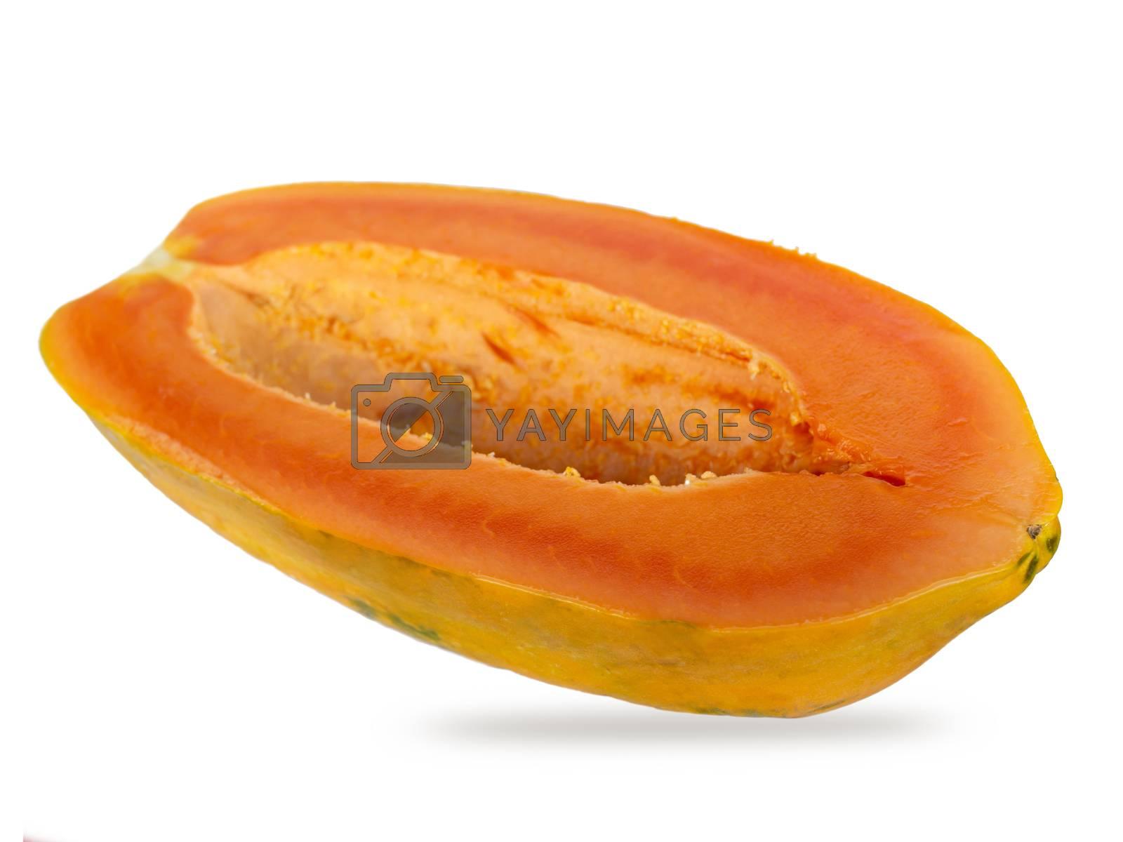Orange half papaya isolated from white background