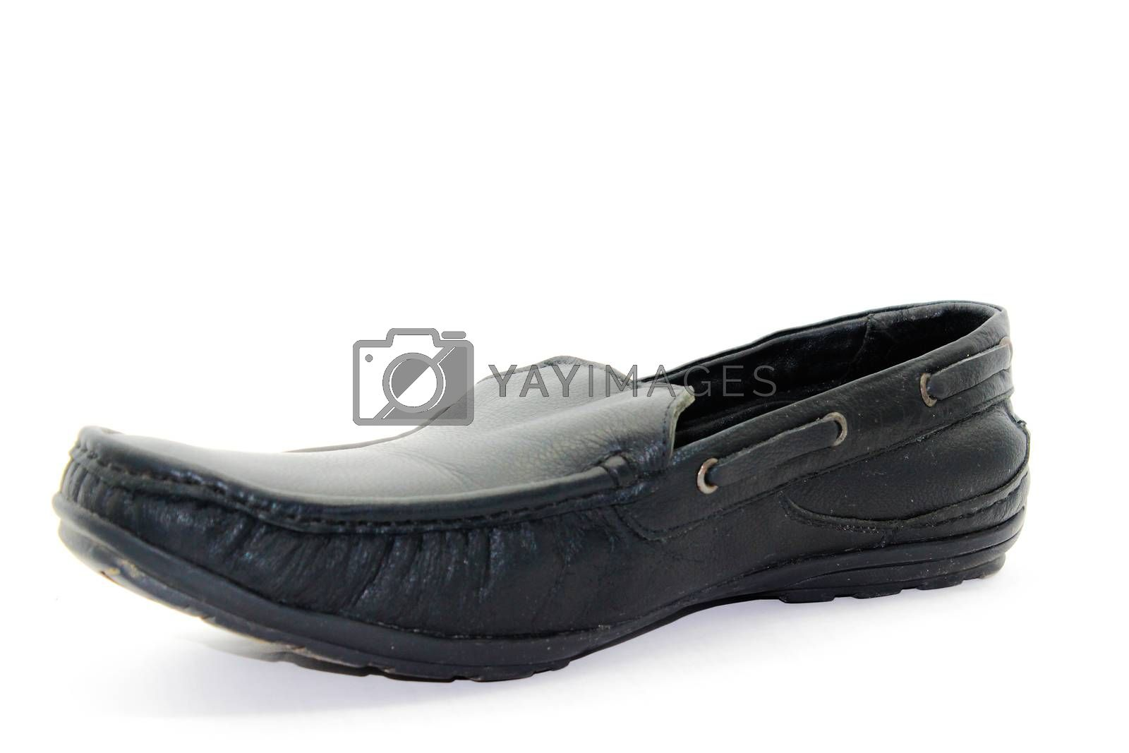 Black leather shose for men isolated on white background with selective focus