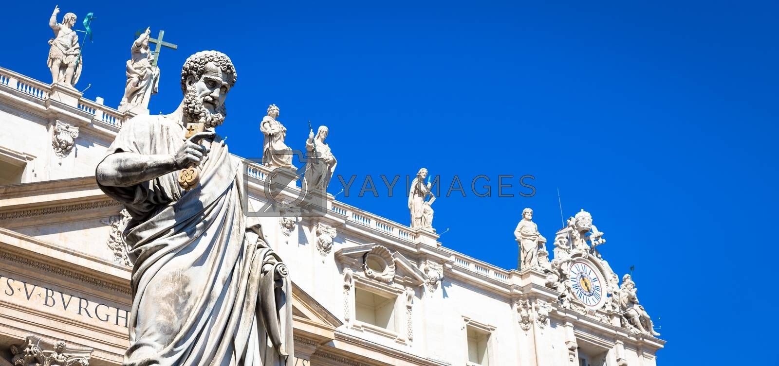 Detail of Saint Peter statue located in front of Saint Peter Cathedral entrance in Rome, Italy - Vatican City