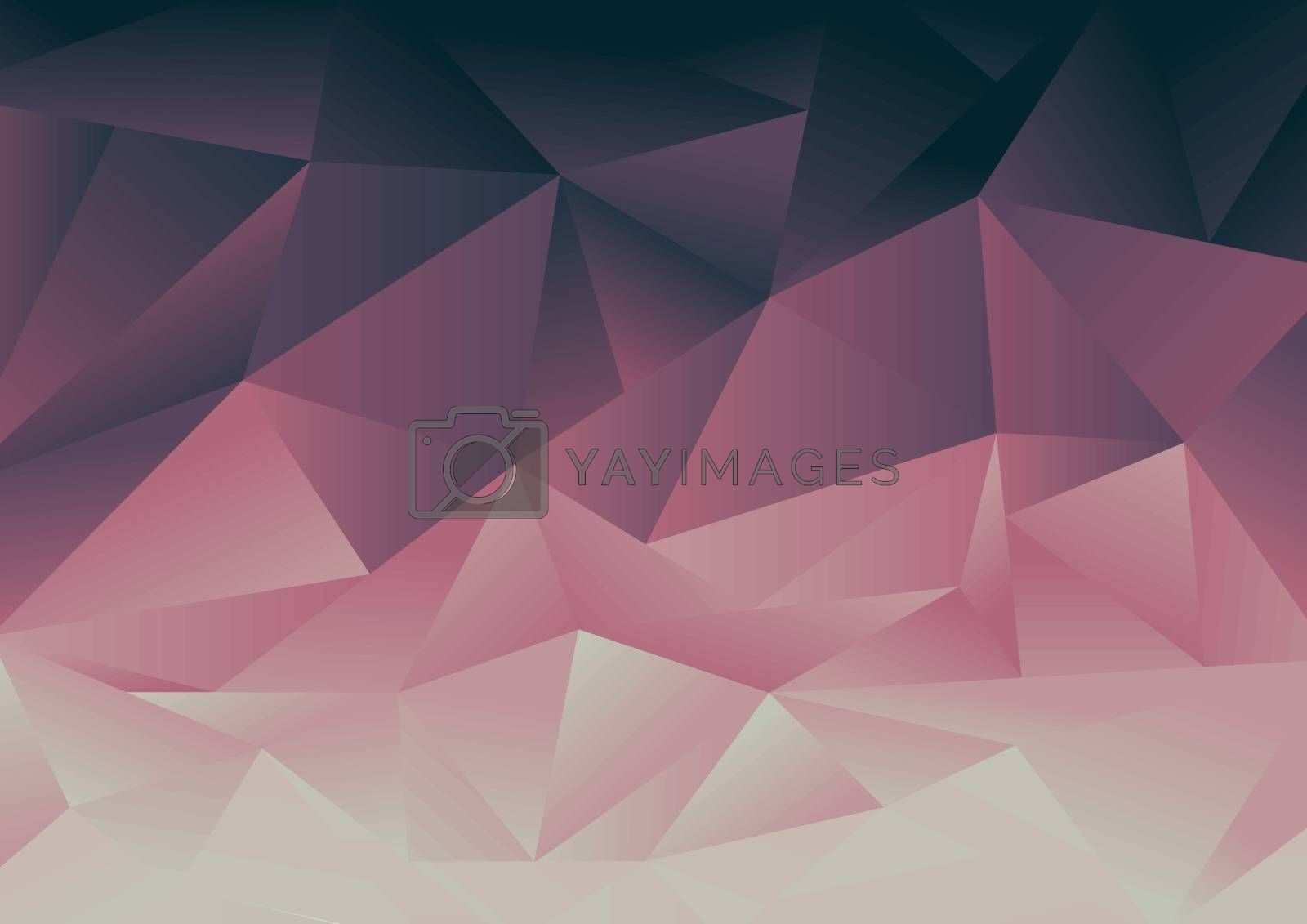 Abstract low polygon pink and blue gradient mosaic background. Geometric triangles design for cover brochure, print ad, banner web, poster, etc. Vector illustration