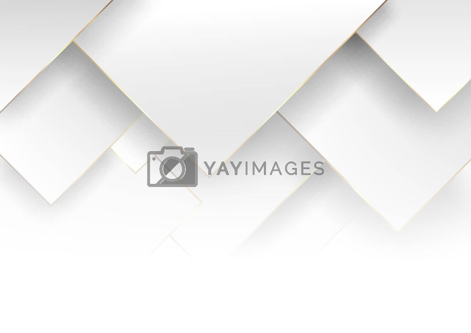 Abstract modern elegant white and gray gradient square shape with golden line. Geometric overlapping layer luxury style. Vector illustration