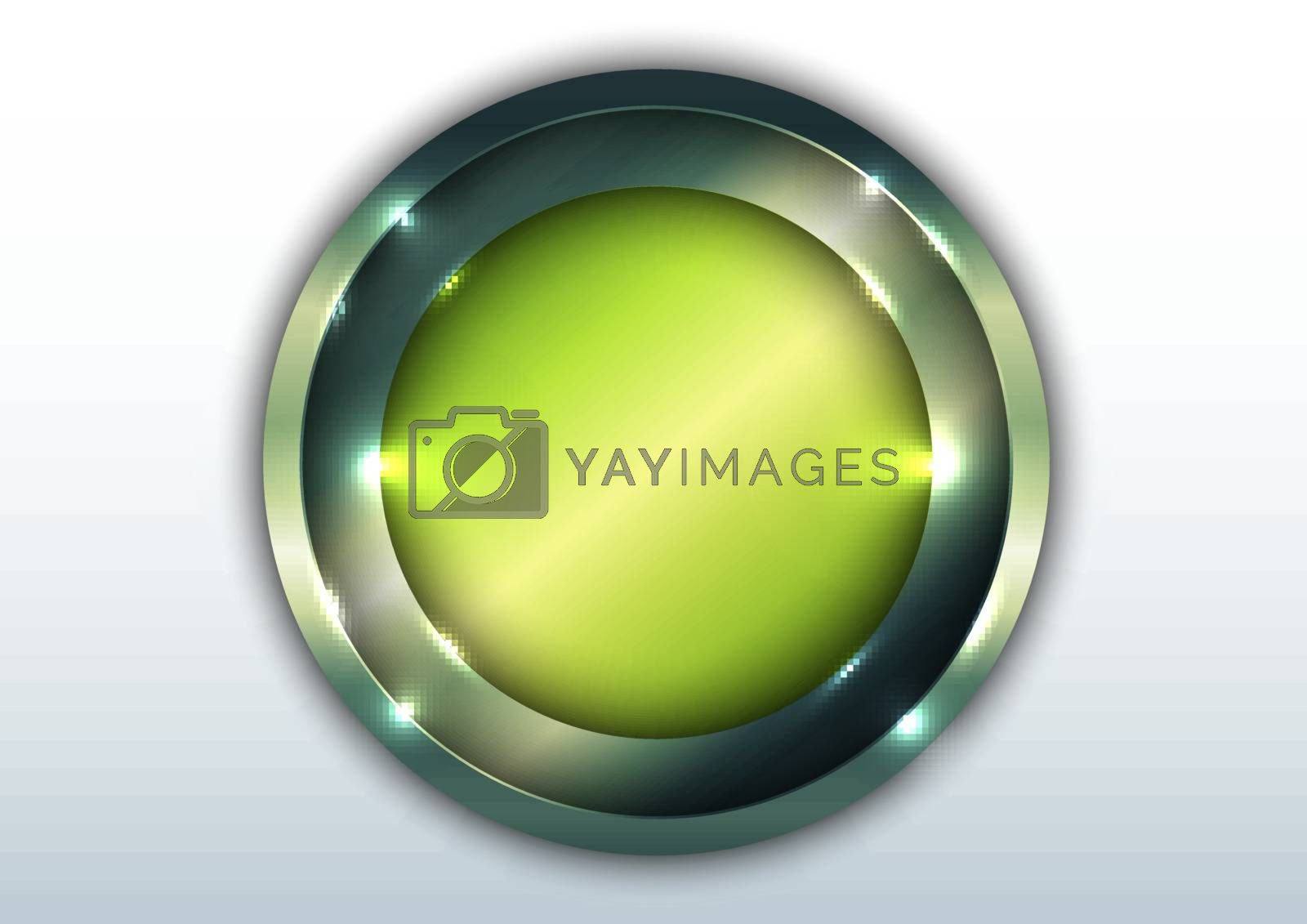 3D green metallic shiny circle overlapping with lighting isolated on white space background. Vector illustration
