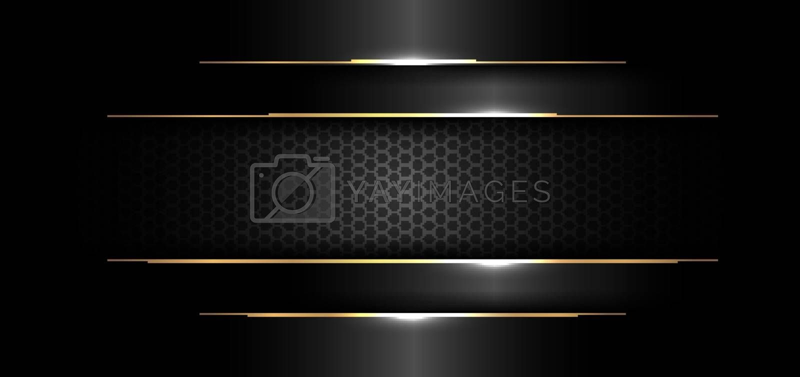 Abstract banner design template black glossy with gold line and lighting effect on dark background and texture. Luxury style. Vector illustration
