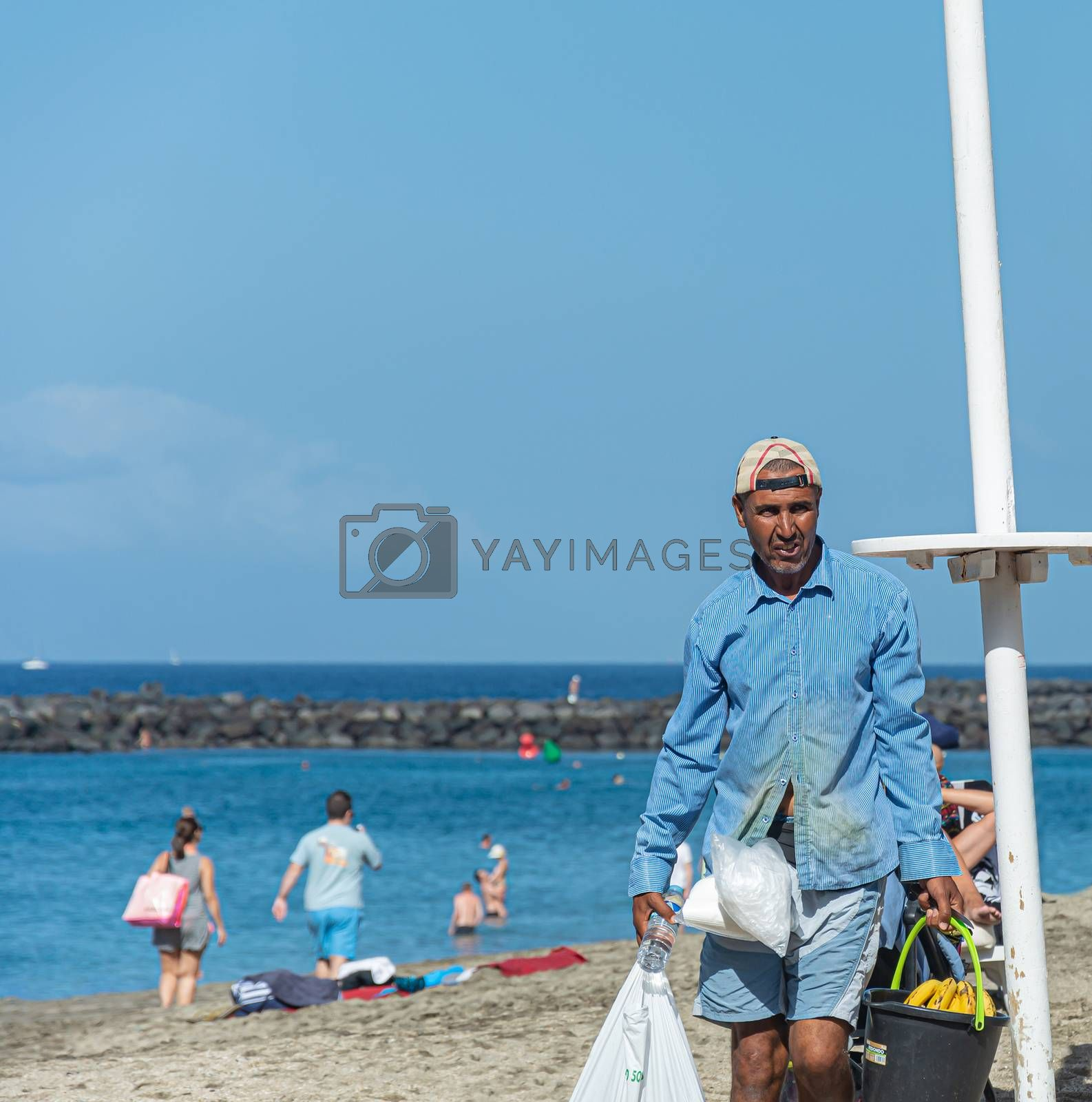 Spain, Tenerife - 09/19/2016: Fruit seller on the beach. Stock photography