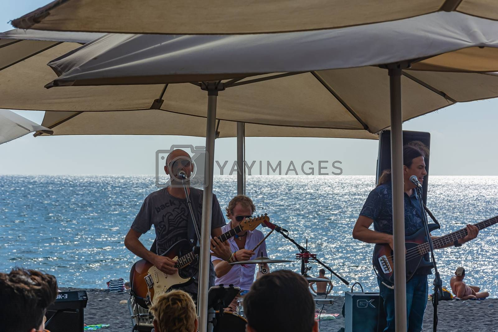 Spain, Tenerife - 09/17/2016: performance by a musical group on the ocean. Stock photography