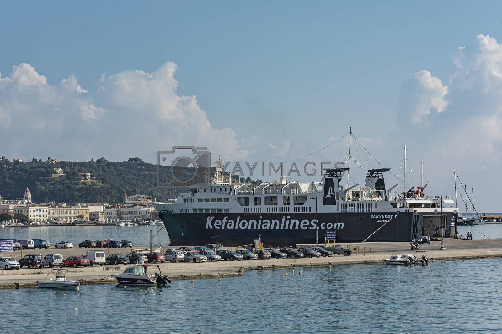 Greece, Zakynthos - 06/09/2016: Cargo-passenger sea ferry at the pier of the port. Stock photography