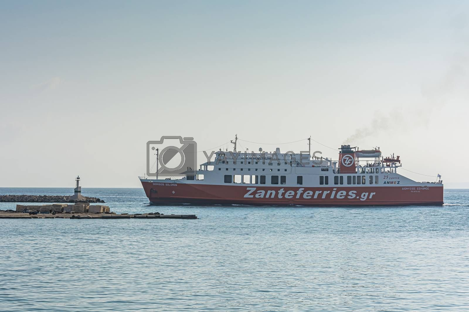 Greece, Zakynthos - 06/09/2016: Cargo-passenger sea ferry. Stock photography
